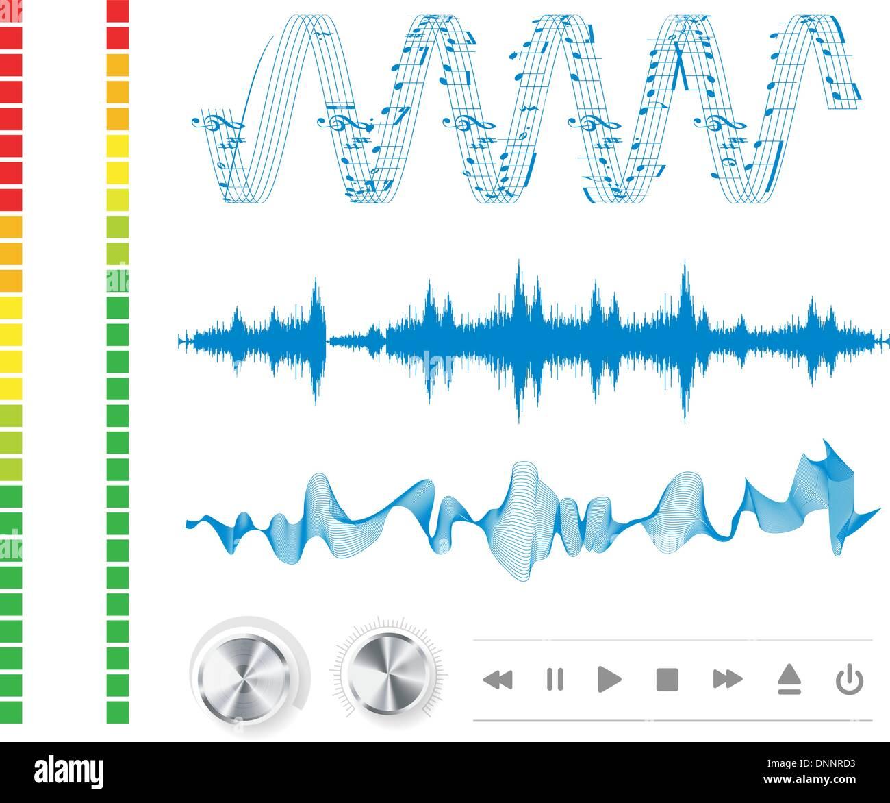 Les notes, les boutons et les ondes sonores. Arrière-plan de la musique. Photo Stock