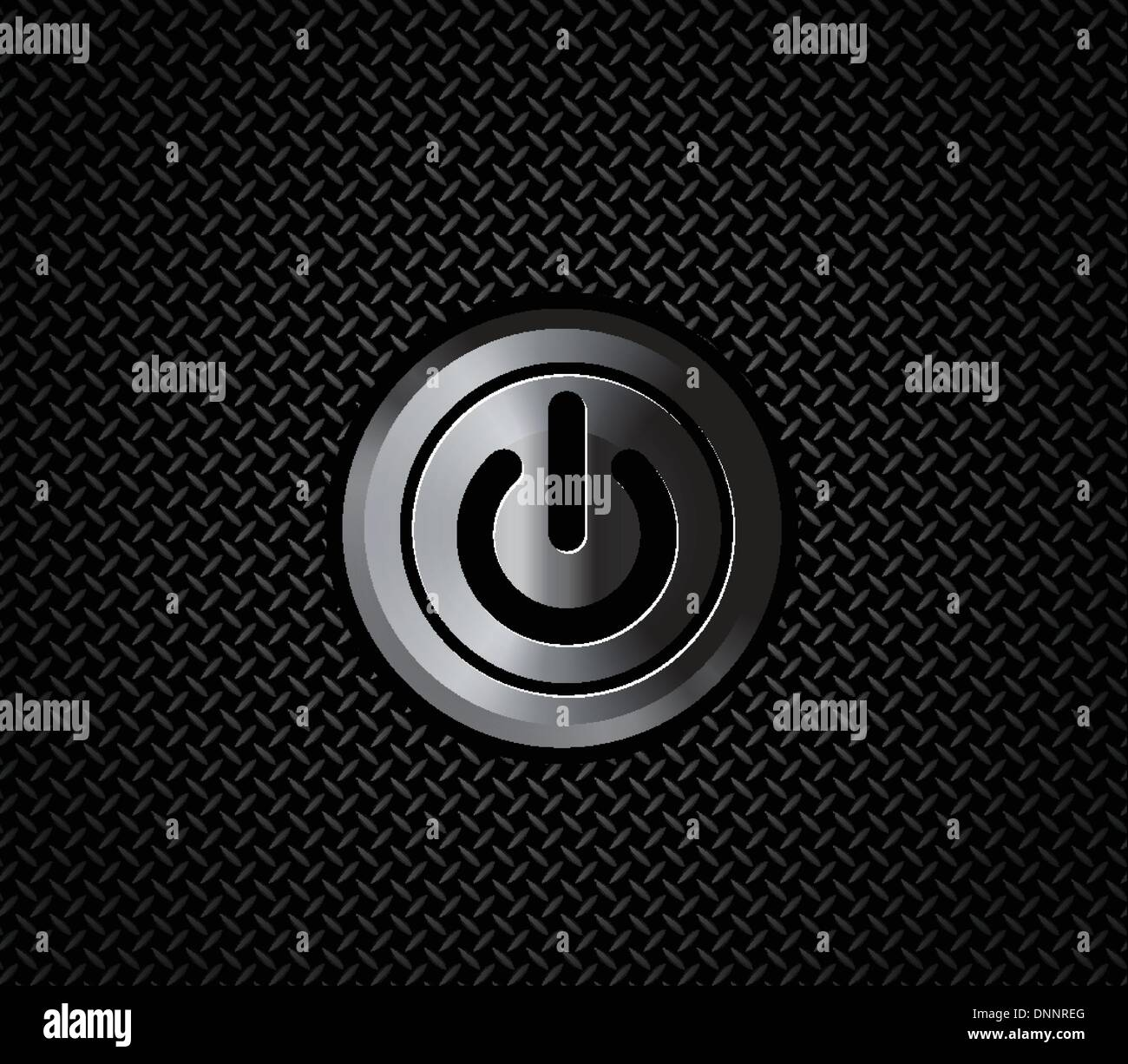Le bouton power sur mettal motif métal noir Photo Stock