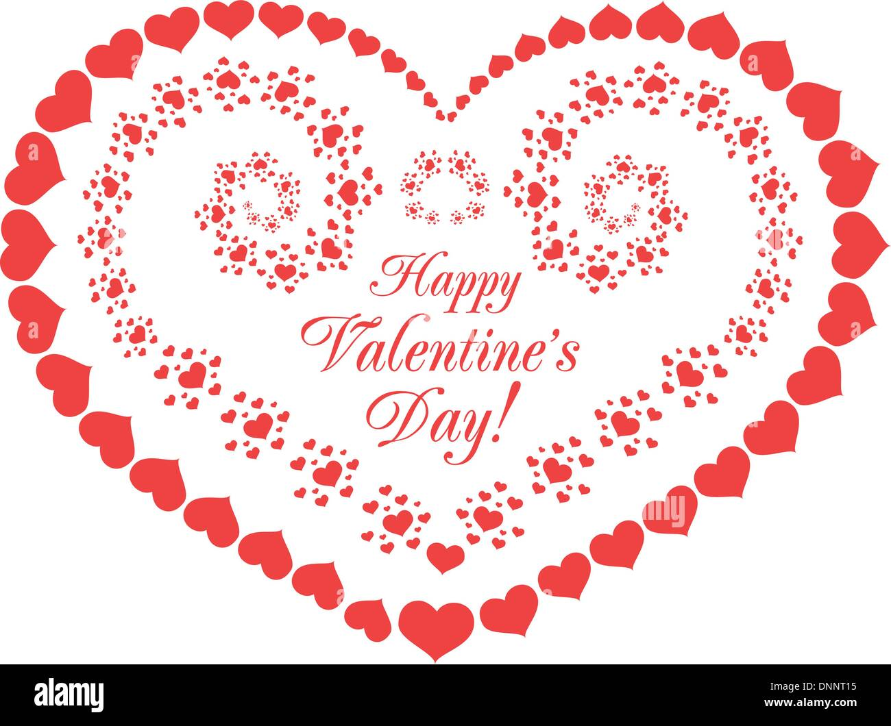 Saint-valentin vector background with hearts on white Photo Stock