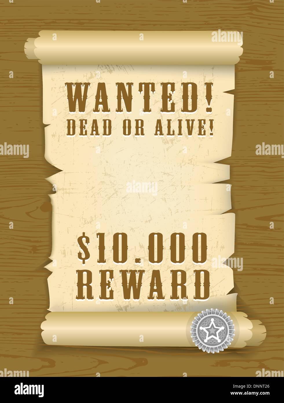 Vector Poster Wanted Dead or Alive sur fond de textures de bois. C. EPS 8.0 Photo Stock