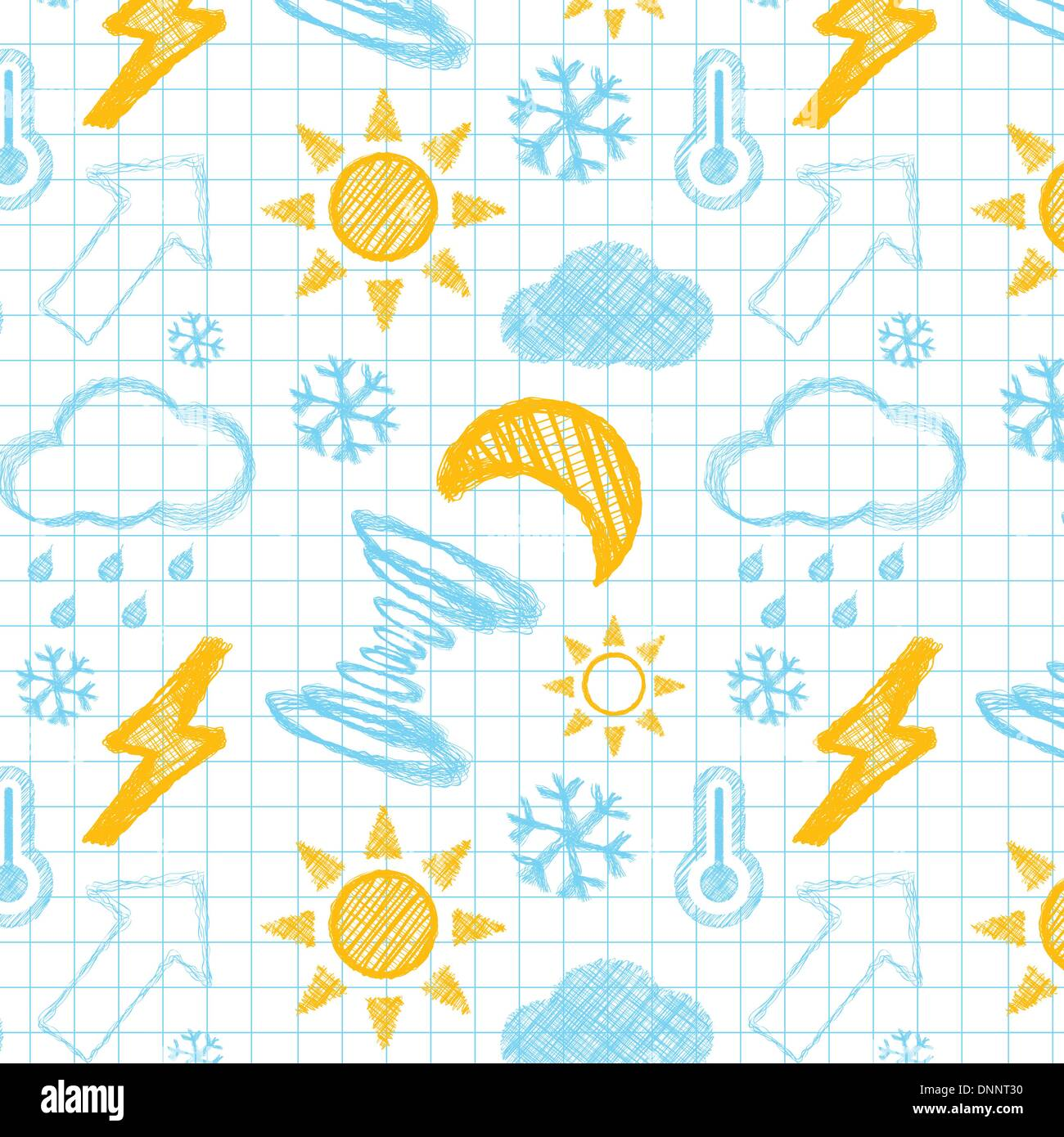 Météo hand drawn seamless pattern. Vectror illustration Photo Stock