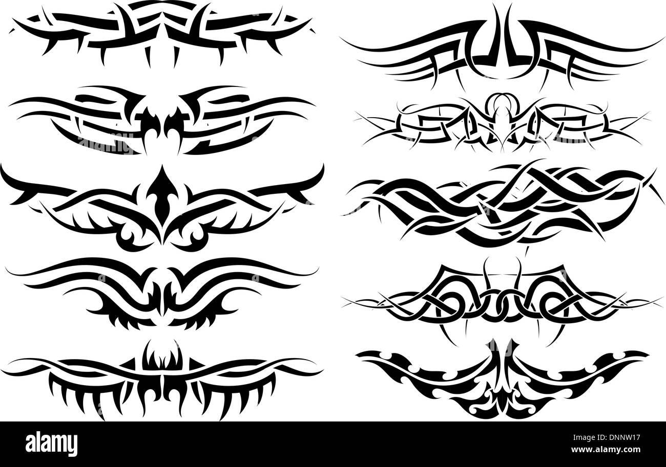 Les Modeles De Conception De Tatouage Tribal Pour Utiliser Image Vectorielle Stock Alamy