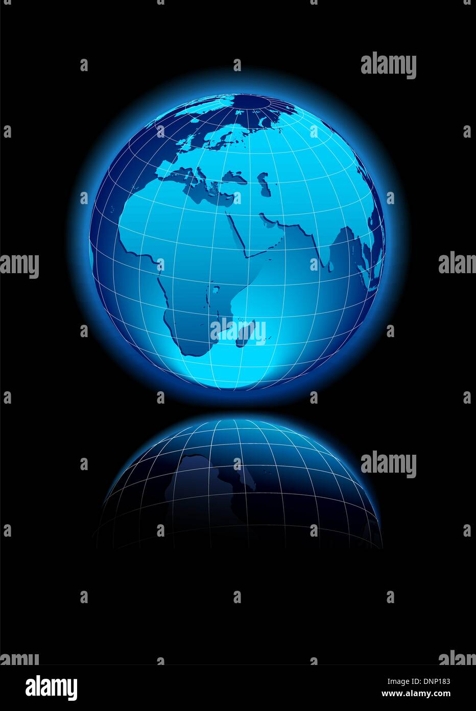 L'icône de carte vectorielle du monde en forme de globe - Afrique, Moyen-Orient Photo Stock