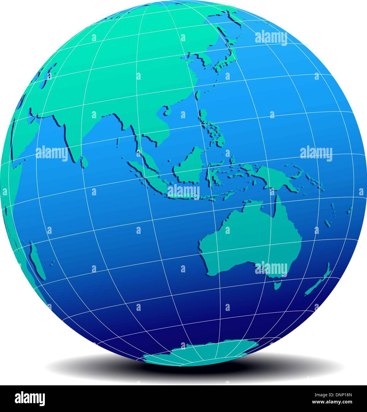 Carte Australie Malaisie.L Icone De Carte Vectorielle Du Monde En Forme De Globe