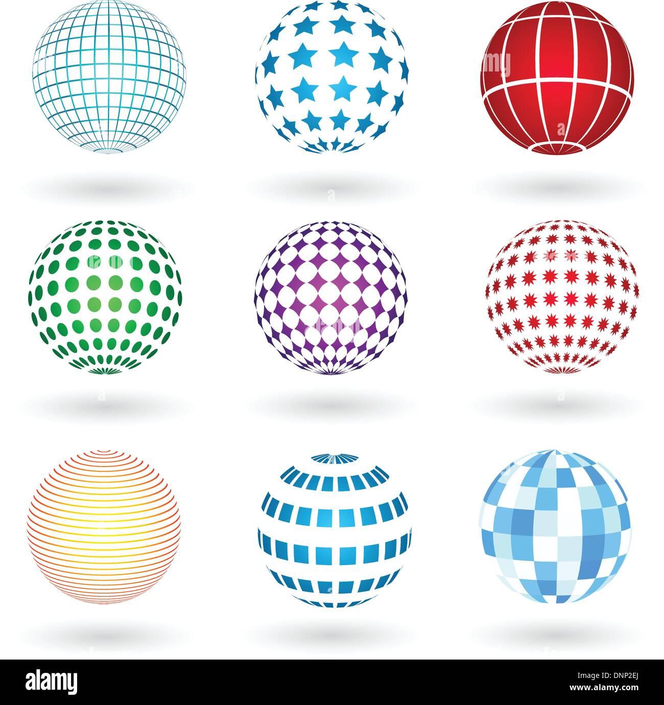 Sphères aux divers modèles Photo Stock