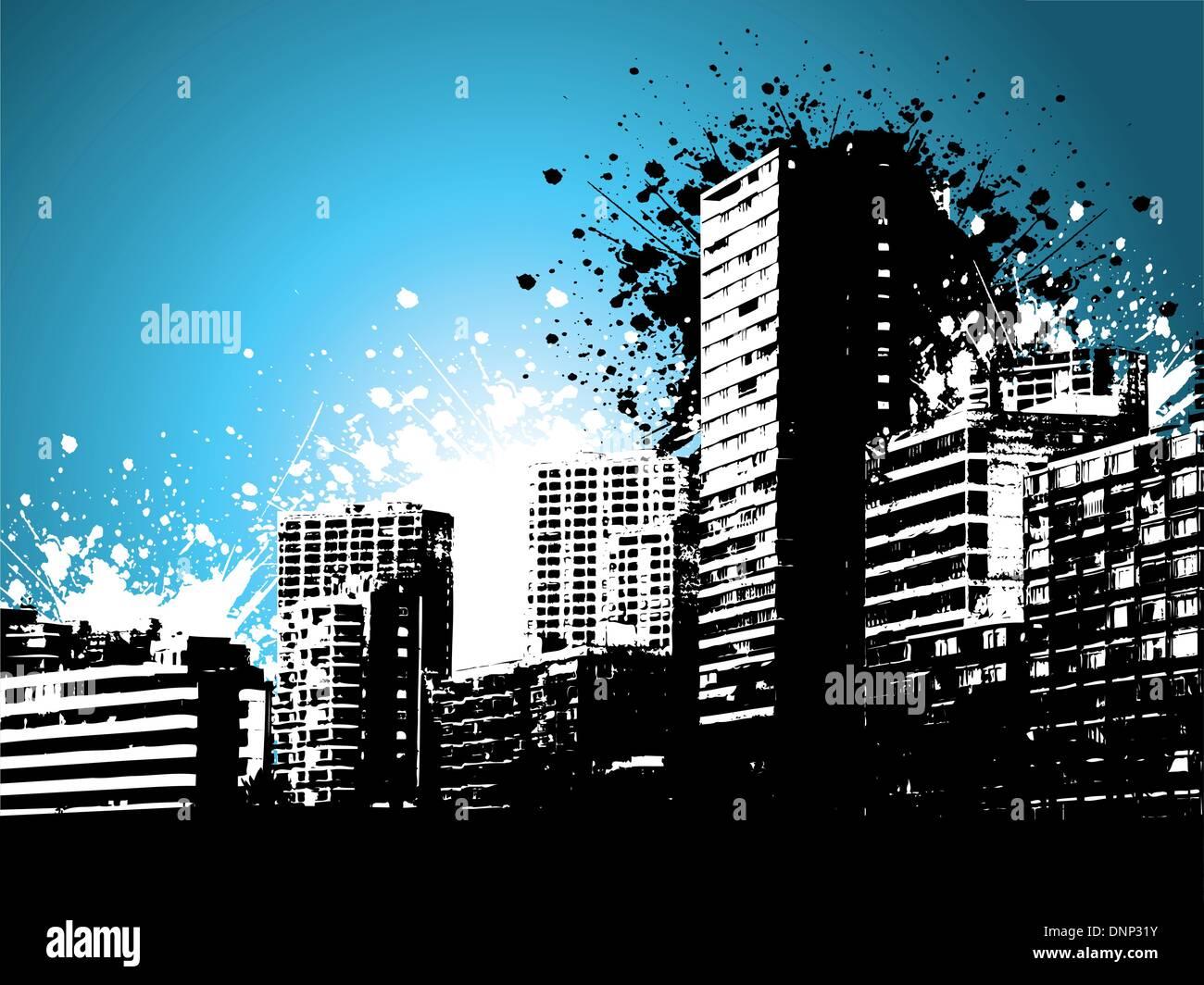 Sur une gratte-ciels de style grunge background Photo Stock