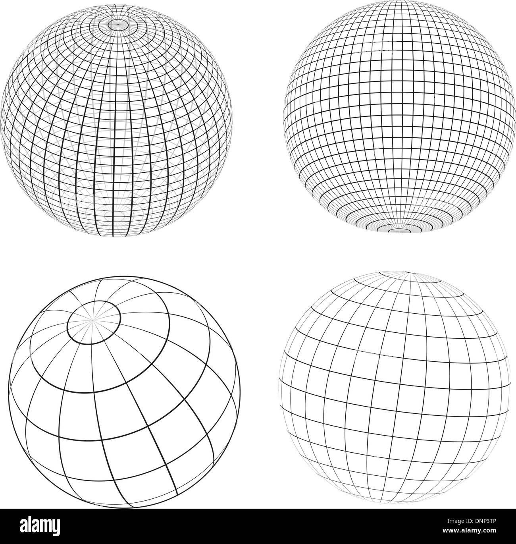 Différents modèles de globes de fer Photo Stock