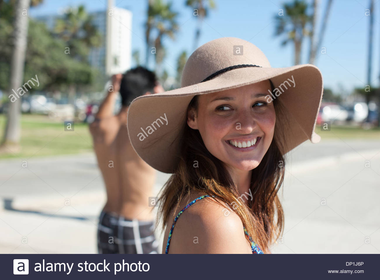 Woman wearing hat Photo Stock
