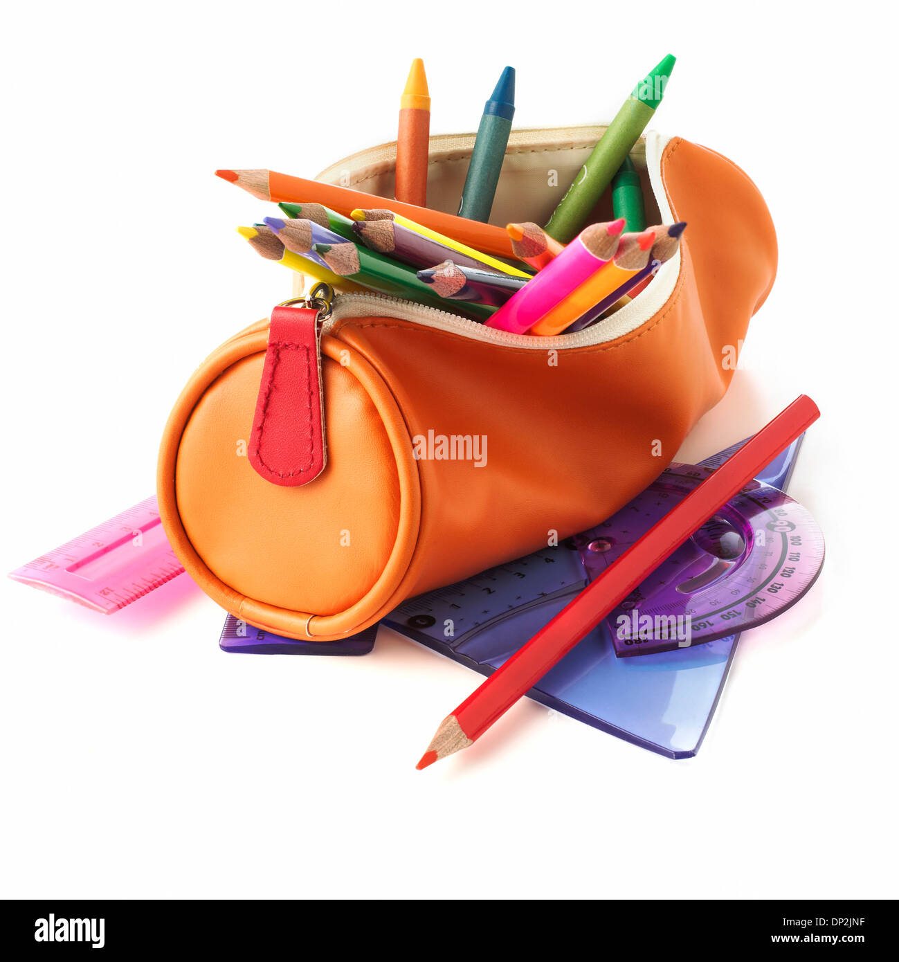 Étui à crayons plein Photo Stock