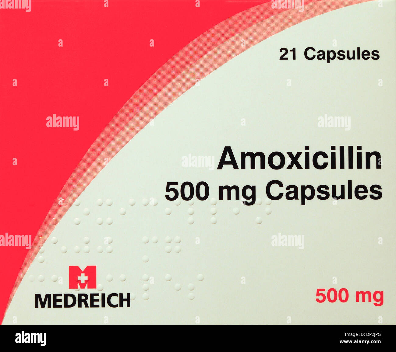 Amoxicilline 500 mg, comprimés, capsules, pack, antibiotique, ordonnance, médicaments prescrits médicaments pénicilline tablet Photo Stock