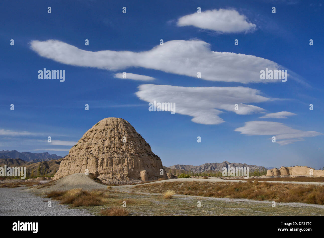Western Xia Tombs (Tombeau #3), Gunzhongkou, province de Ningxia, Chine Banque D'Images