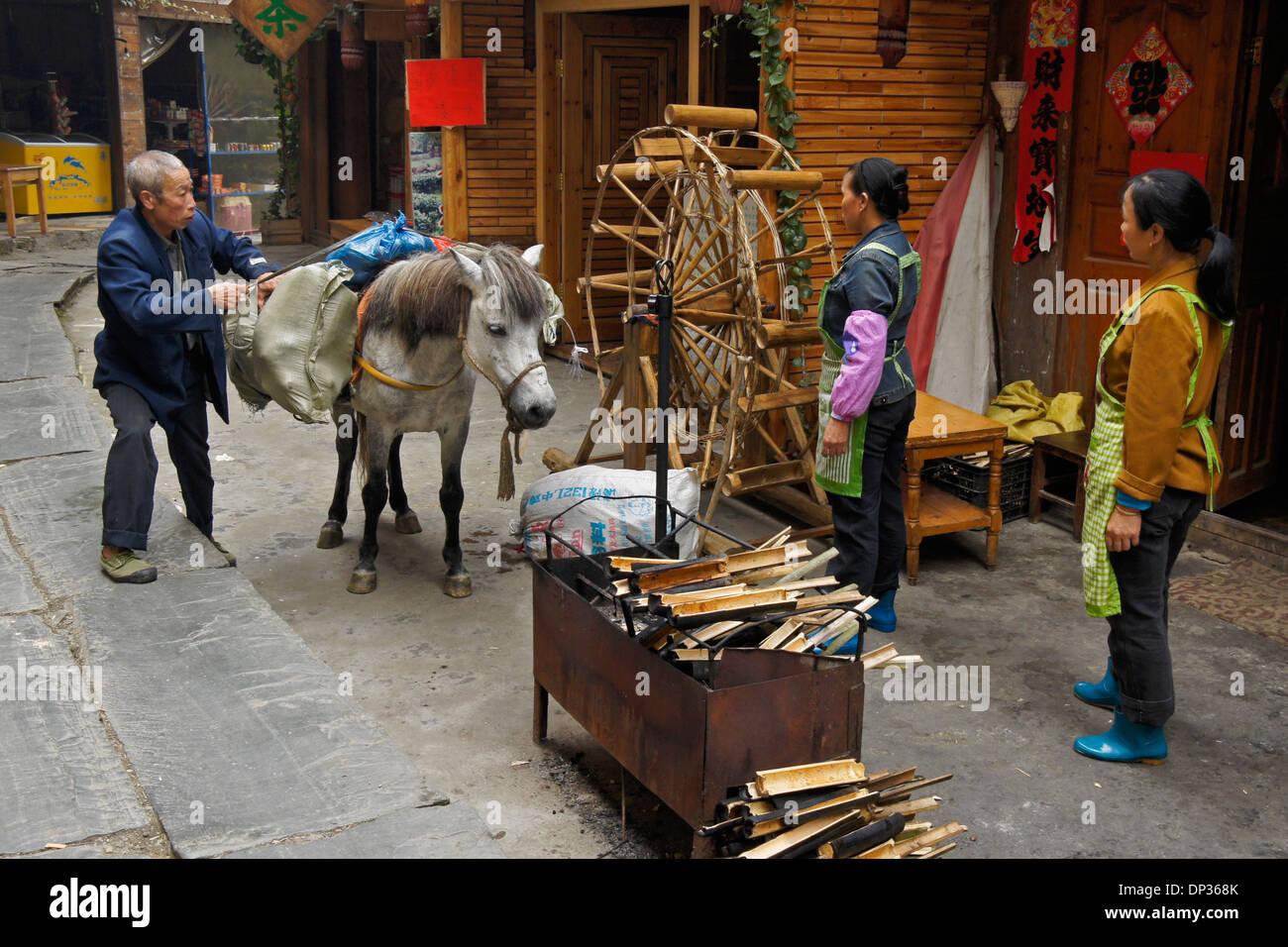 Chargement des marchandises sur l'homme, modèle de bambou waterwheel, Ping'An, Guangxi, Chine Photo Stock