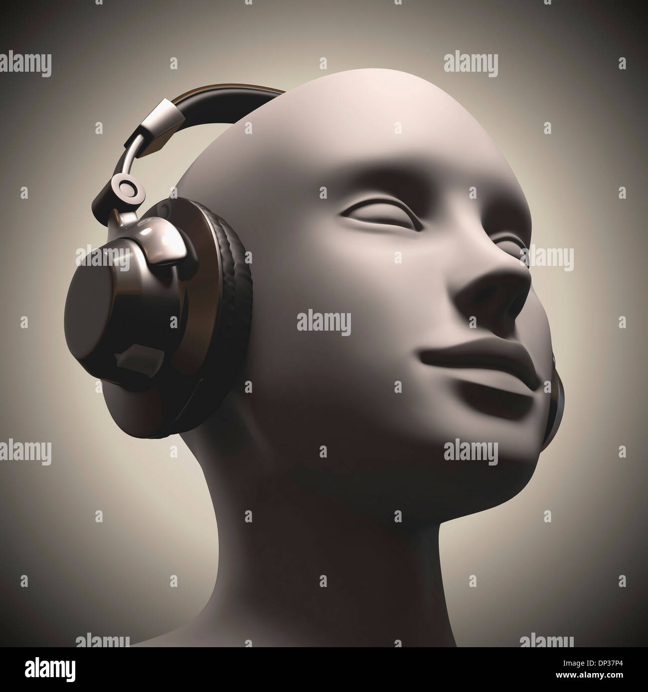 L'utilisation de casque, artwork Photo Stock