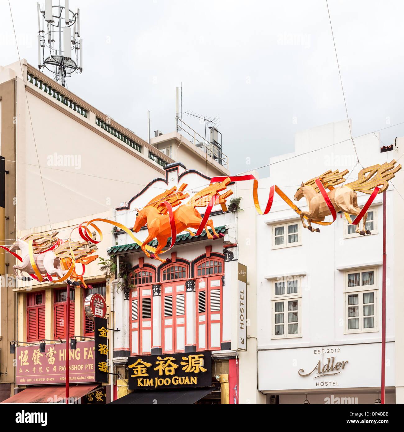 Année du cheval, des décorations du Nouvel An chinois dans Chinatown, Singapour Photo Stock