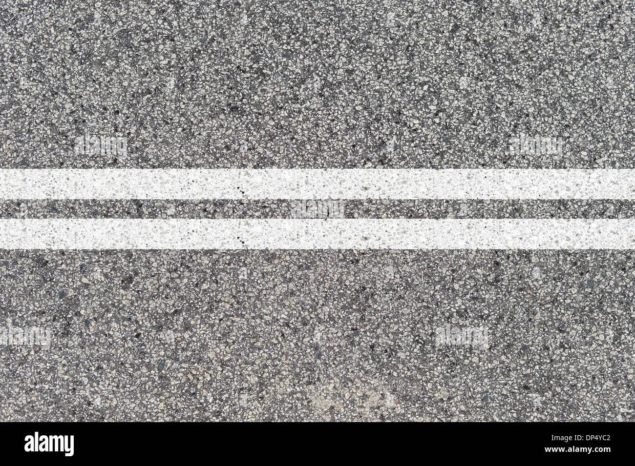 Un gros plan des marquages routiers Photo Stock