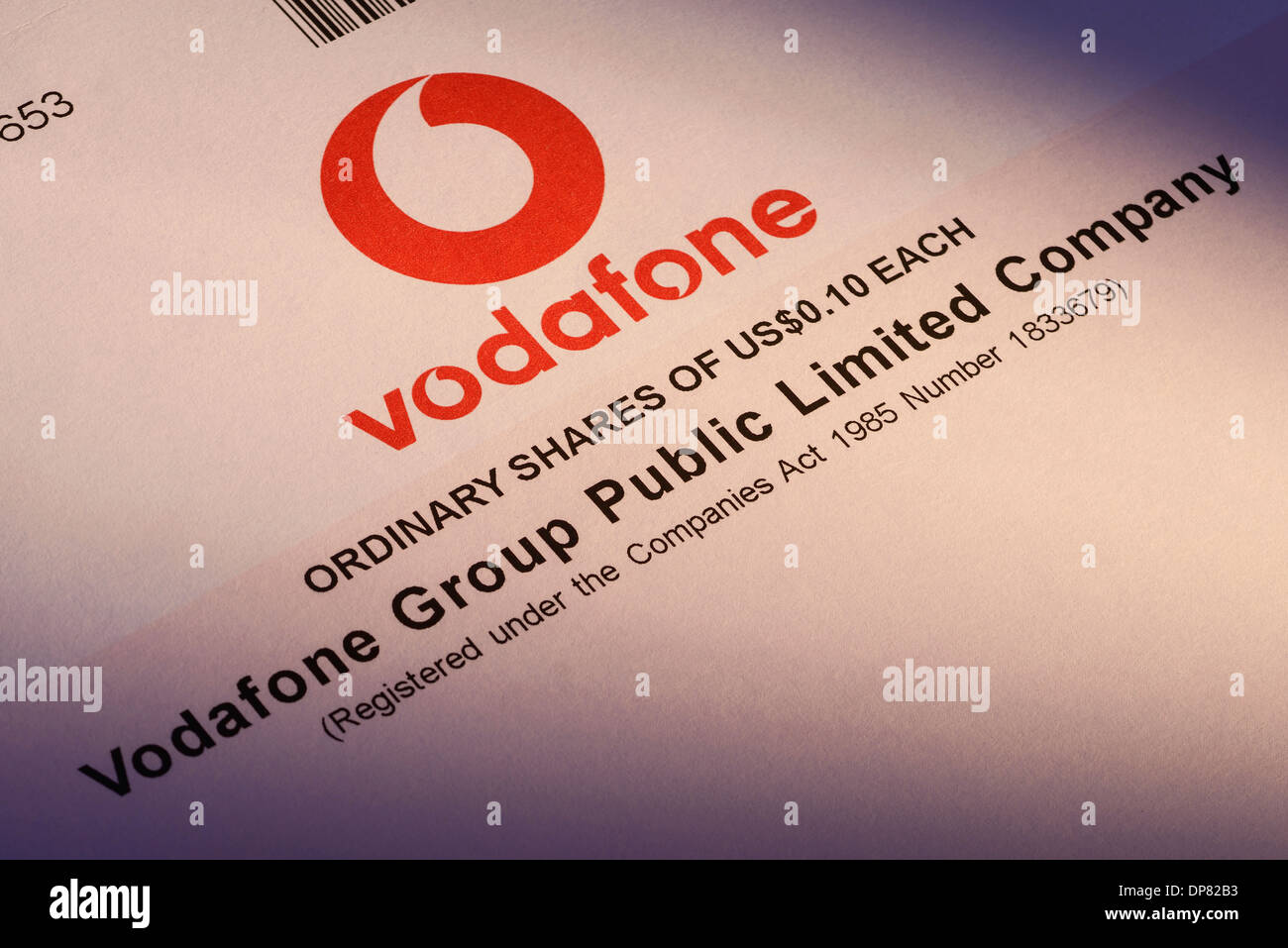 Certificat d'actions pour Vodafone Plc Photo Stock