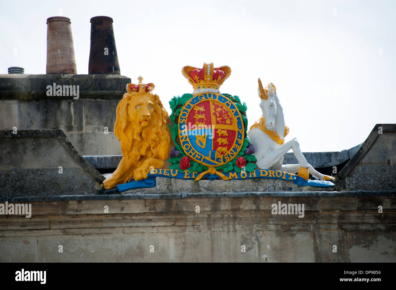 Royal Crest Lion et licorne baignoire Somerset UK Photo Stock