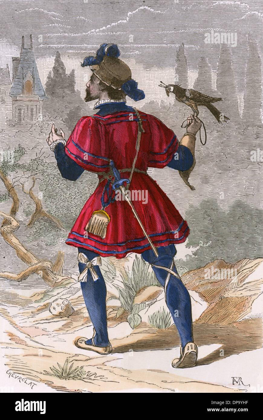16ème siècle FALCONER Photo Stock