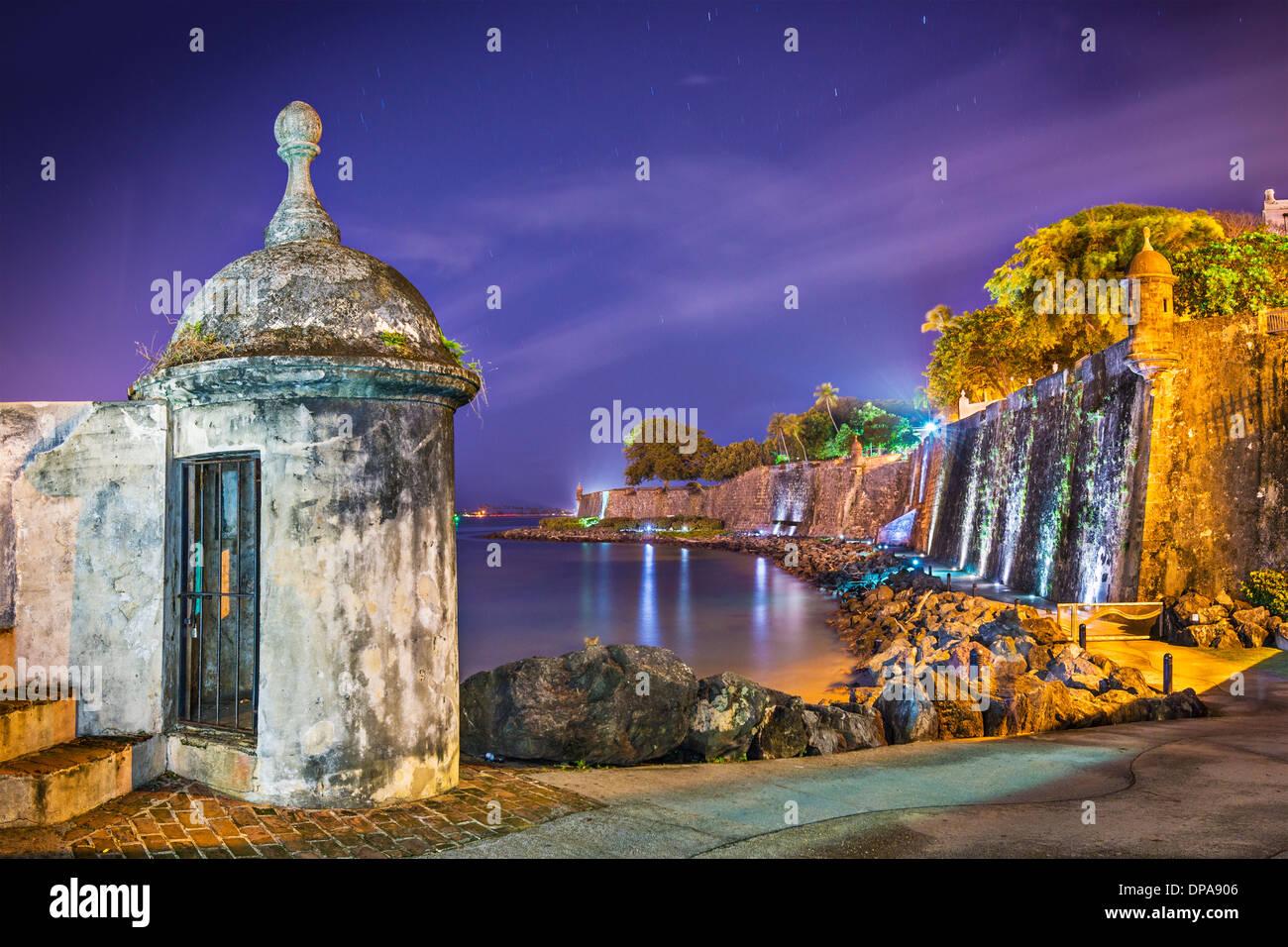 San Juan, Puerto Rico côte à Paseo de la Princesa. Photo Stock