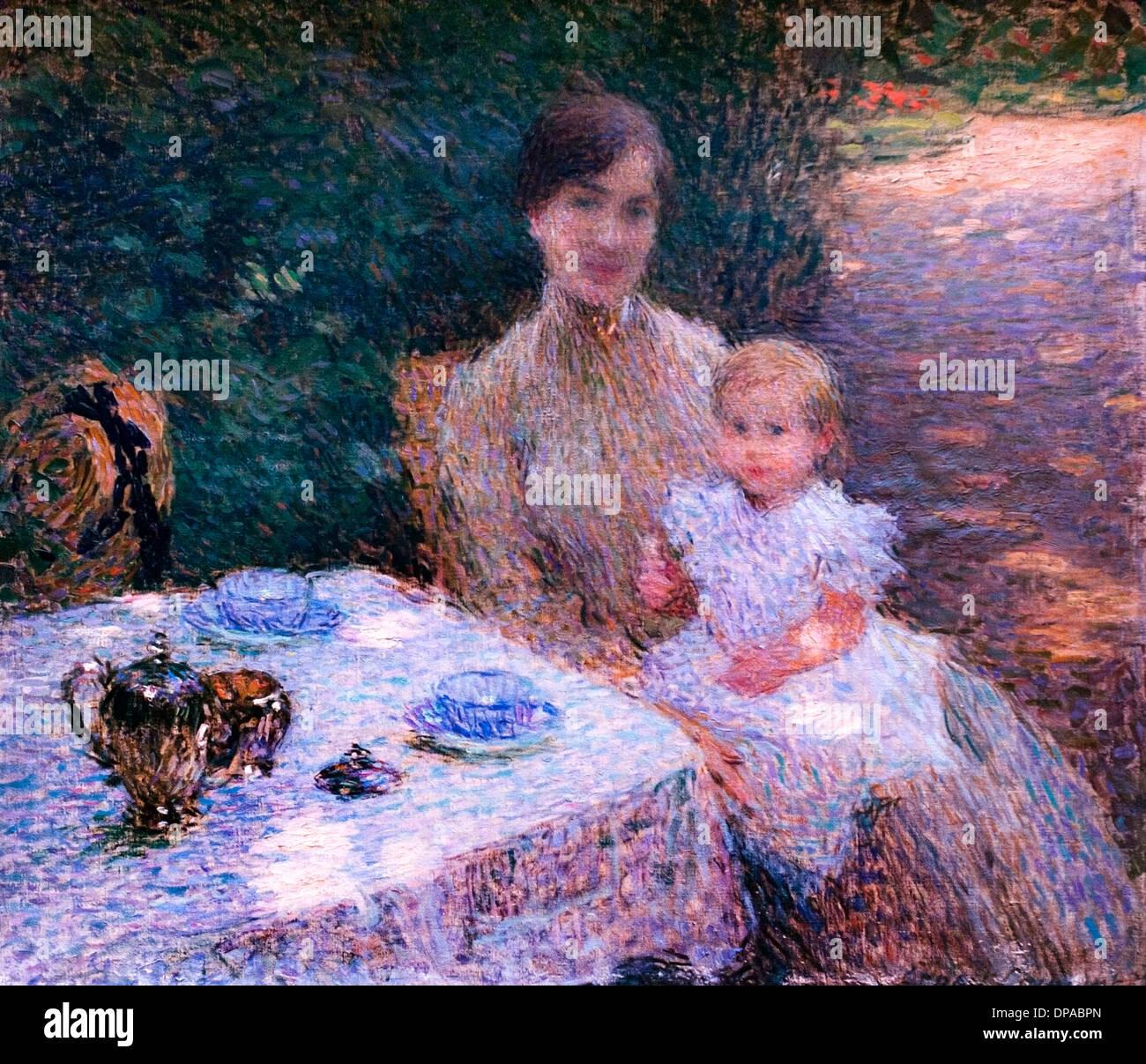 Le gouter dans le jardin - le goût dans le jardin 1904 Ernest Joseph Laurent 1859 - 1929 France Photo Stock