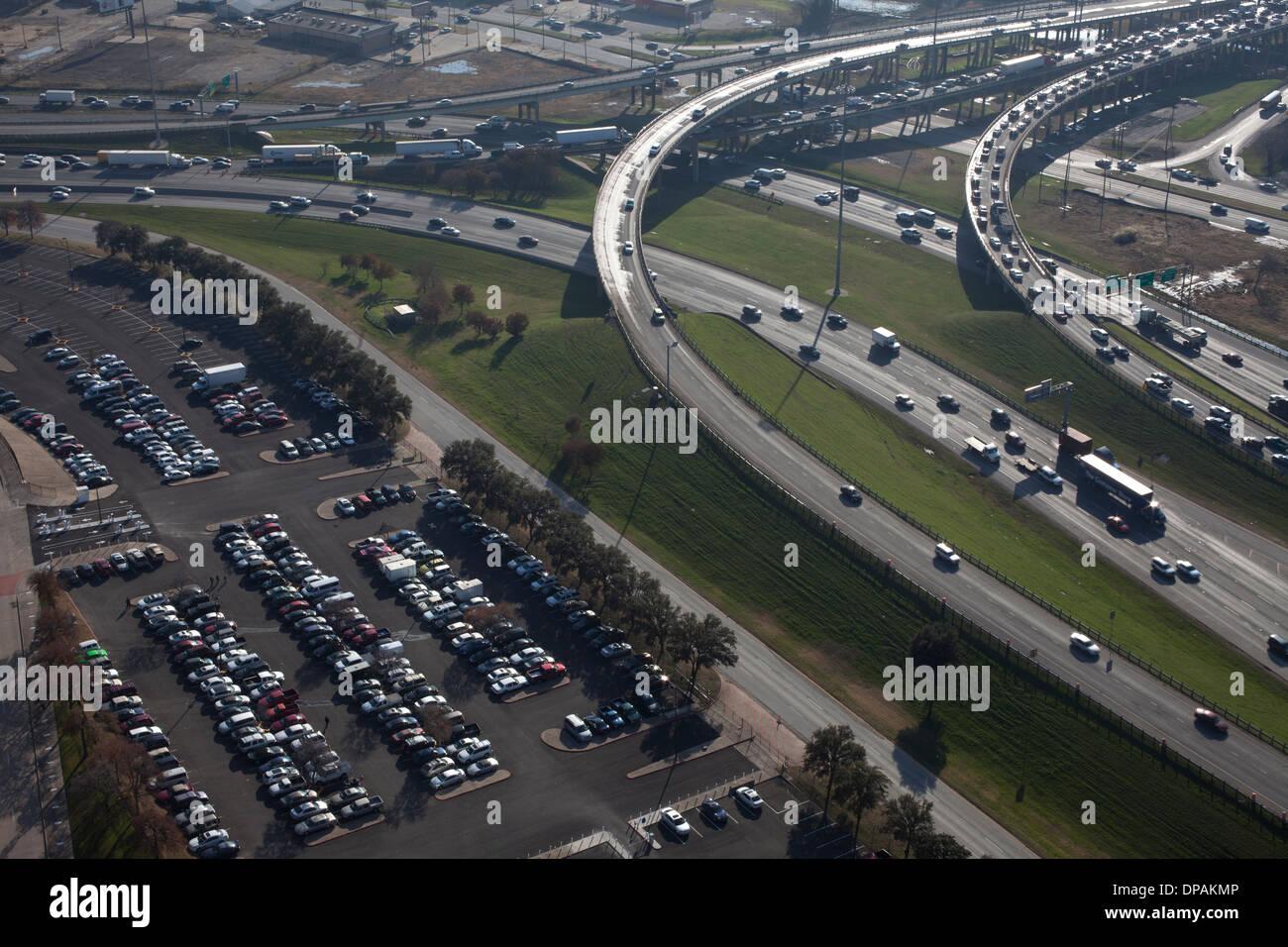 Les routes de Dallas, Texas, United States, 12 décembre 2013. Photo Stock