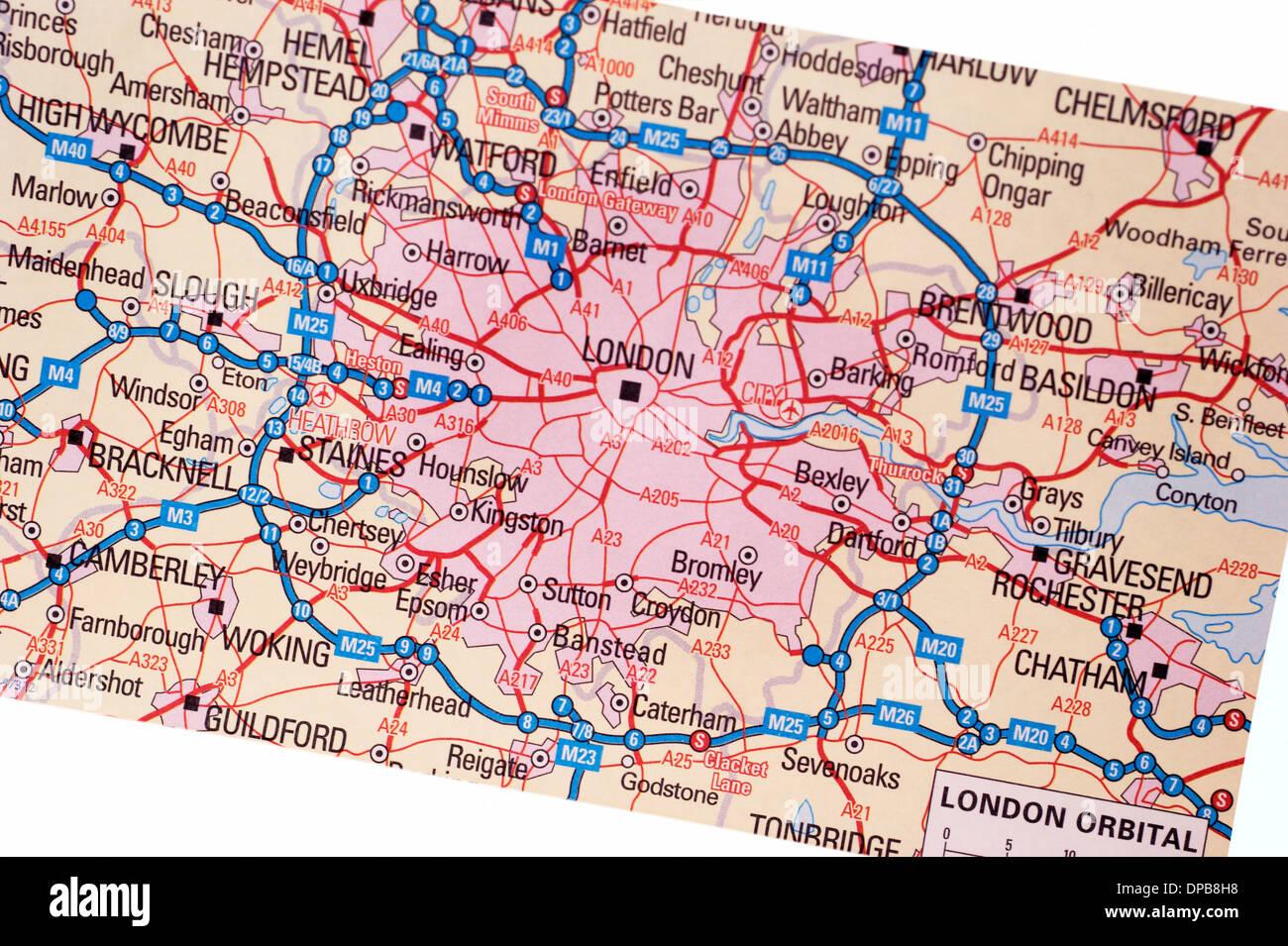 Carte Dangleterre.Une Carte Papier Traditionnel Cartes D Angleterre Montrant L