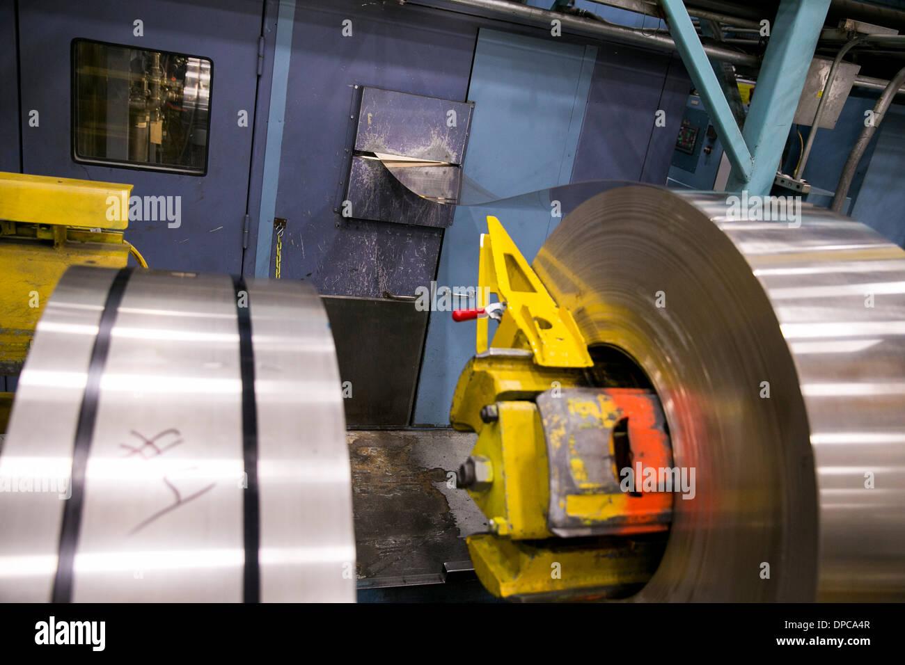 La production de pièces au Philadelphia branche de l'United States Mint. Photo Stock