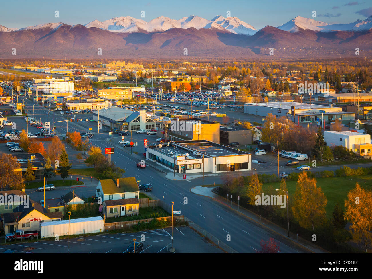 Centre-ville d'Anchorage en Alaska Photo Stock