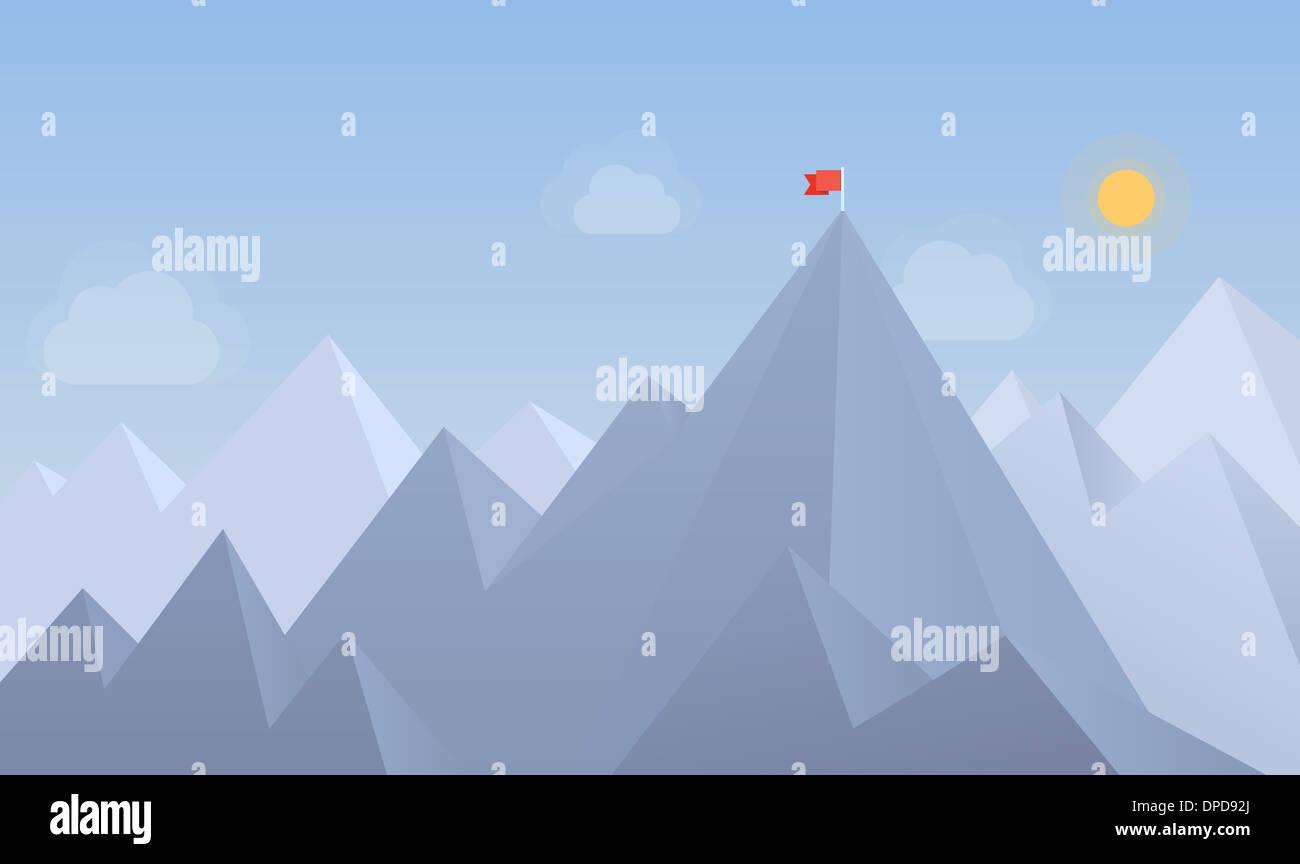 Modèle plat illustration moderne concept de drapeau sur le sommet de la montagne, ce qui signifie surmonter les difficultés et les objectifs de réalisation Photo Stock