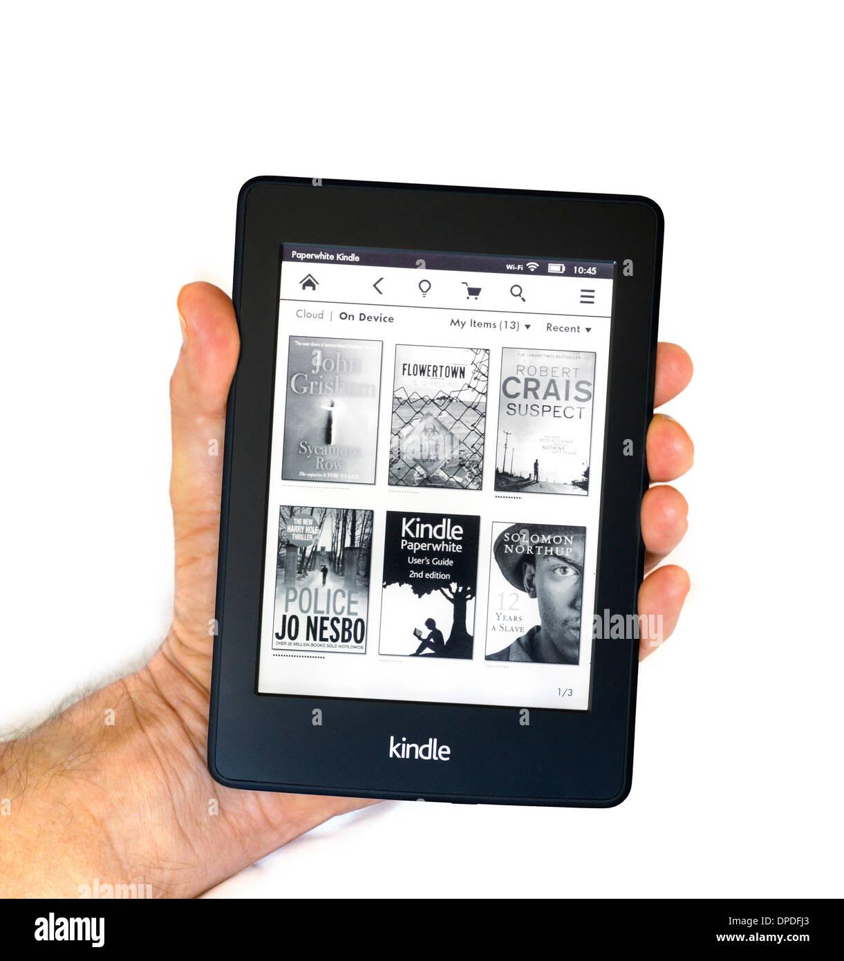 Page d'accueil sur l'Amazon Kindle Paperwhite 2013/14 E-READER Photo Stock