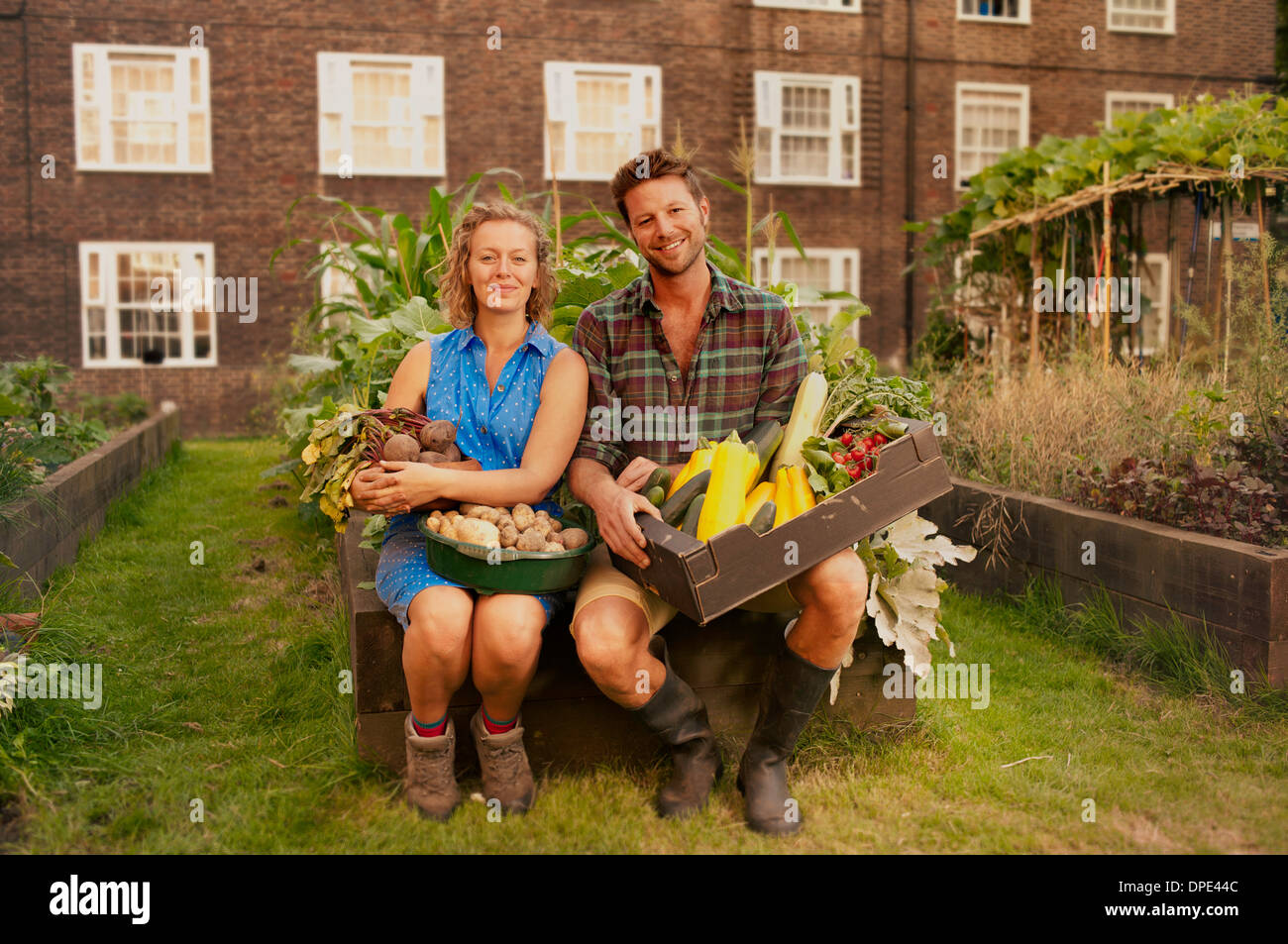 Couple holding récoltés légumes sur biens immobiliers du Conseil spécial Photo Stock
