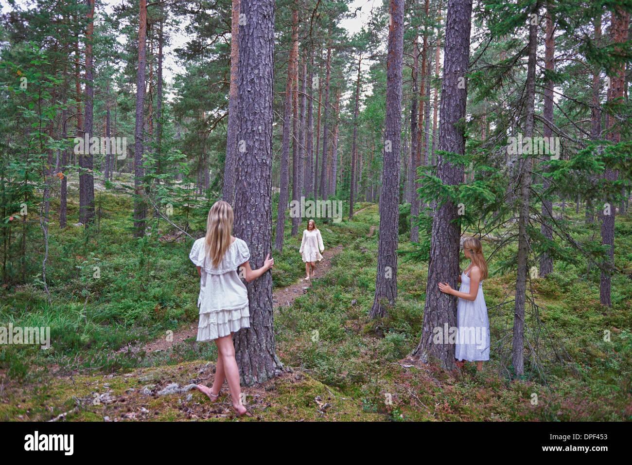 Adolescentes par les troncs des arbres en forêt Photo Stock