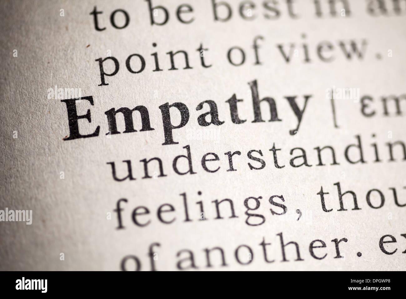 Faux dictionnaire, dictionnaire Définition de l'empathie. Photo Stock