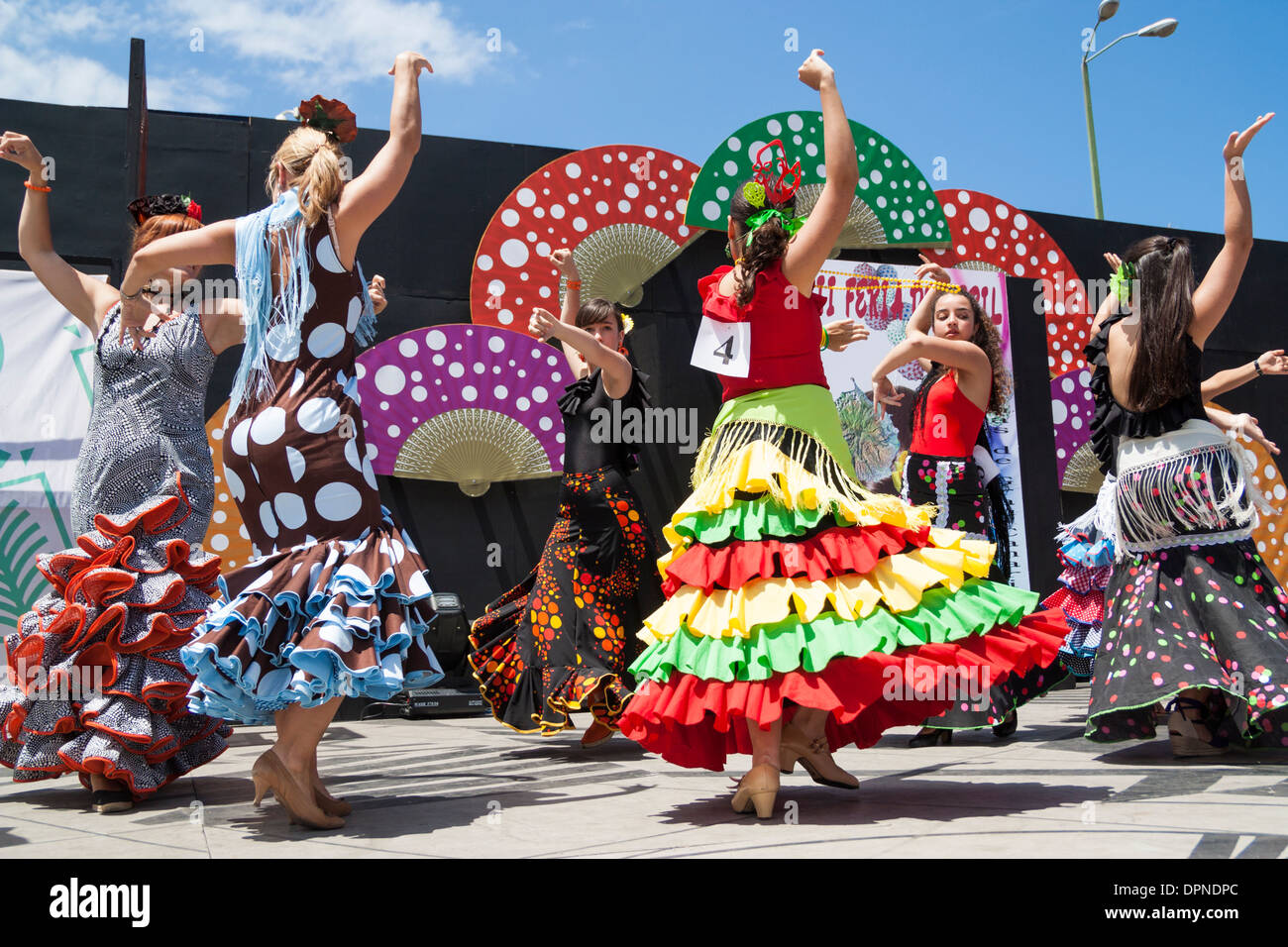 Danseurs de Flamenco Flamenco Feria de Abril au week-end à Las Palmas, Gran Canaria, îles Canaries, Espagne Photo Stock