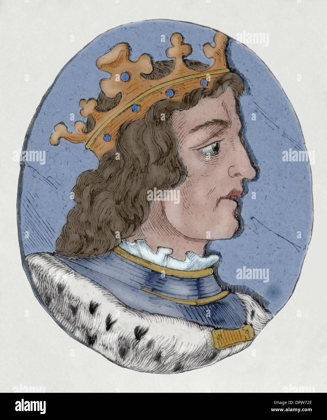 Ramiro III (961-985), roi de León (966-984). La gravure. De couleur. Photo Stock