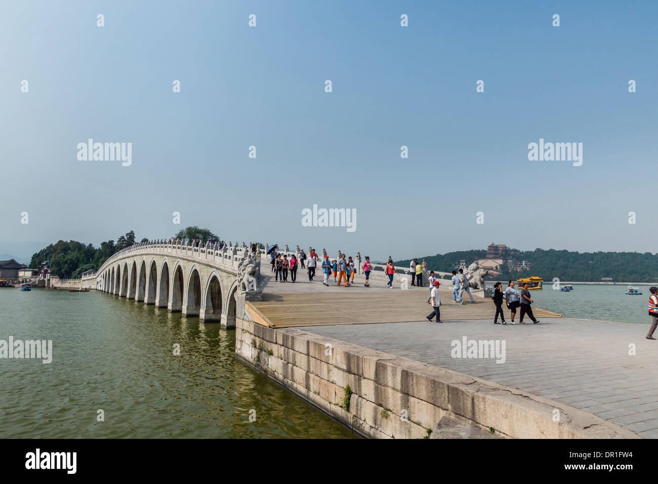 Pont des trous de 17 dans le Palais d'été, Pékin, Chine Photo Stock