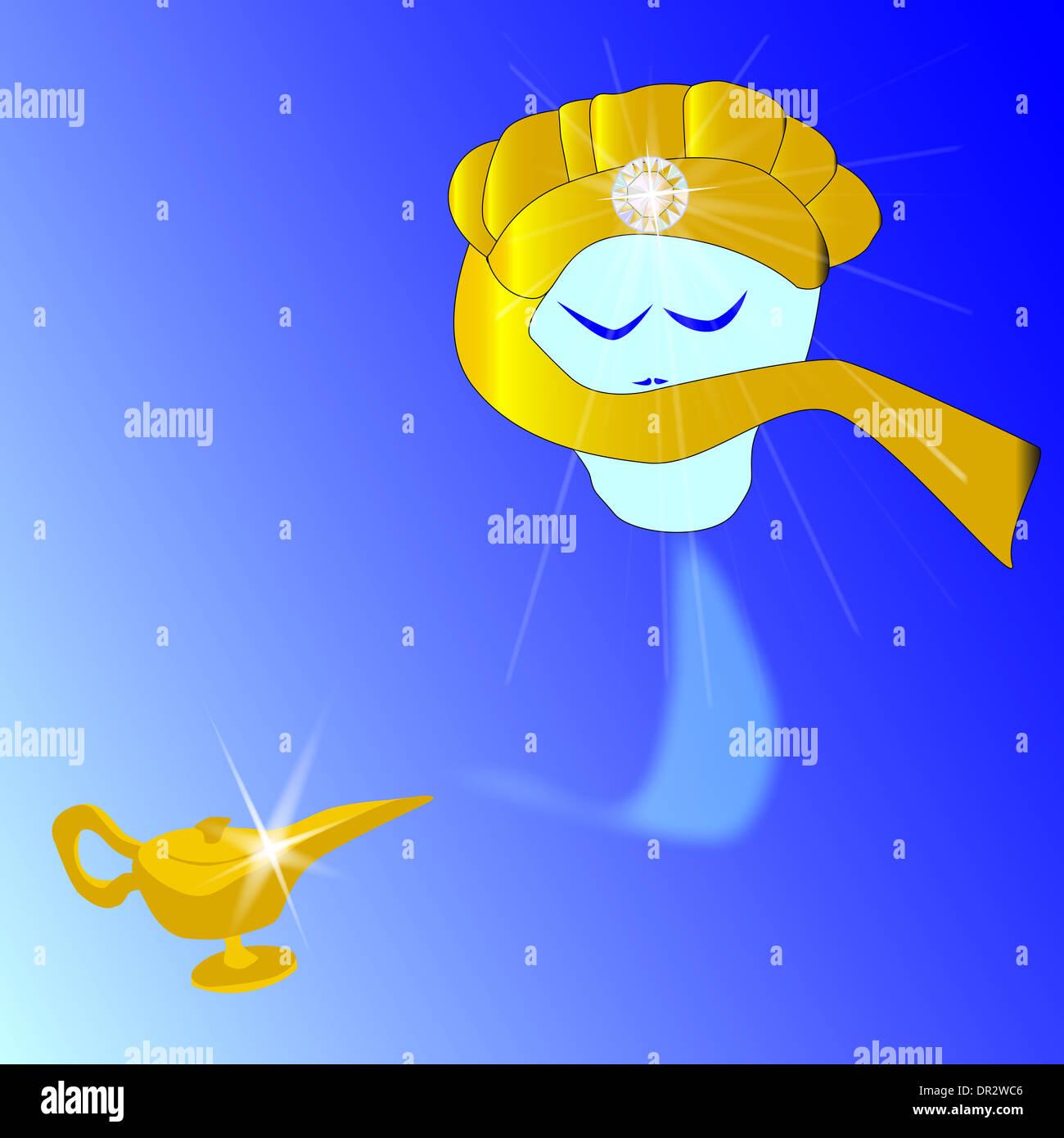 Un Genie D Une Lampe Magique Flottante Banque D Images Photo Stock