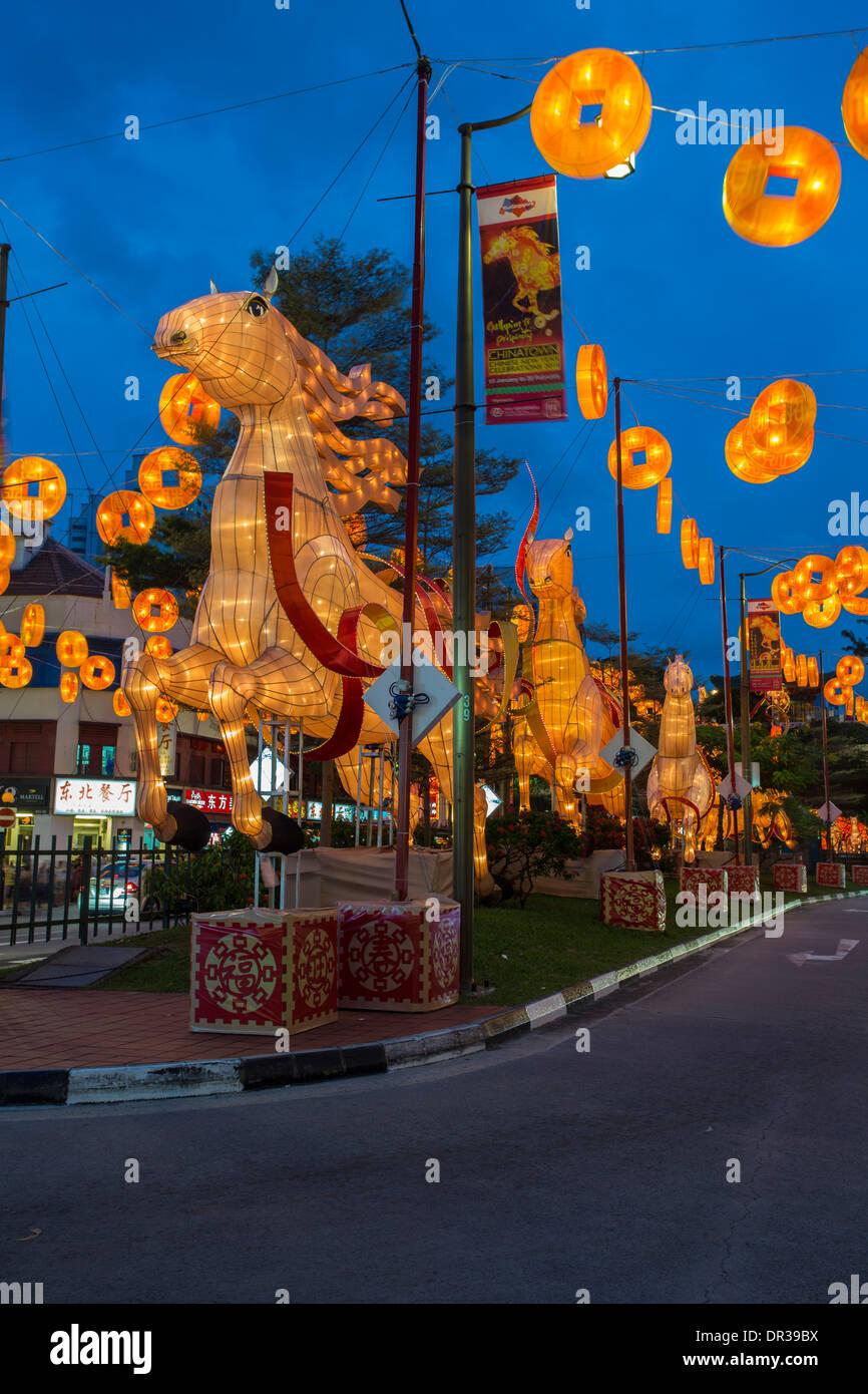 Nouvel An chinois - l'année du cheval , Singapour Photo Stock