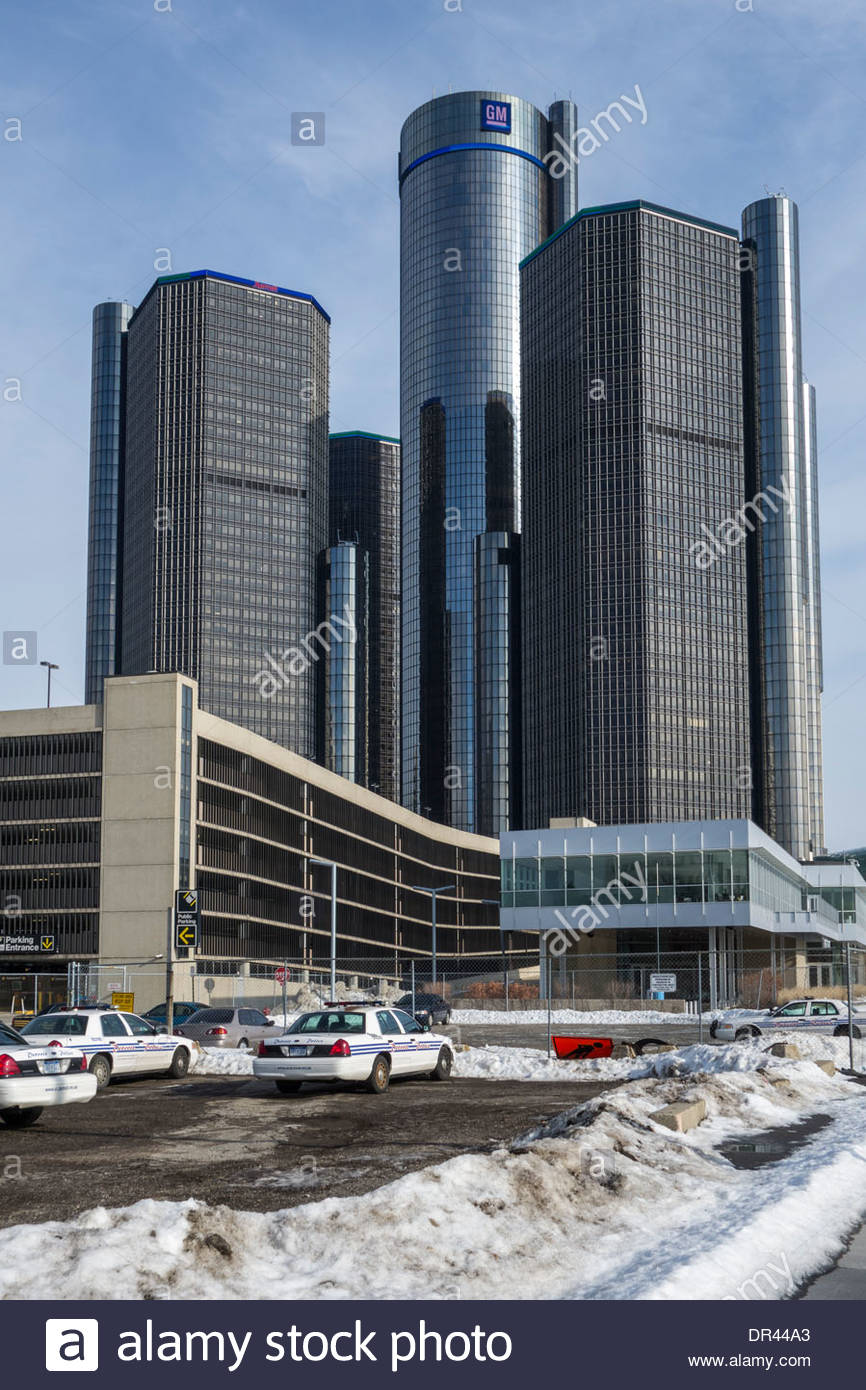 Le GM Renaissance Center dans le centre-ville de Détroit, USA, Quartier général de General Motors, les fabricants de voiture Photo Stock