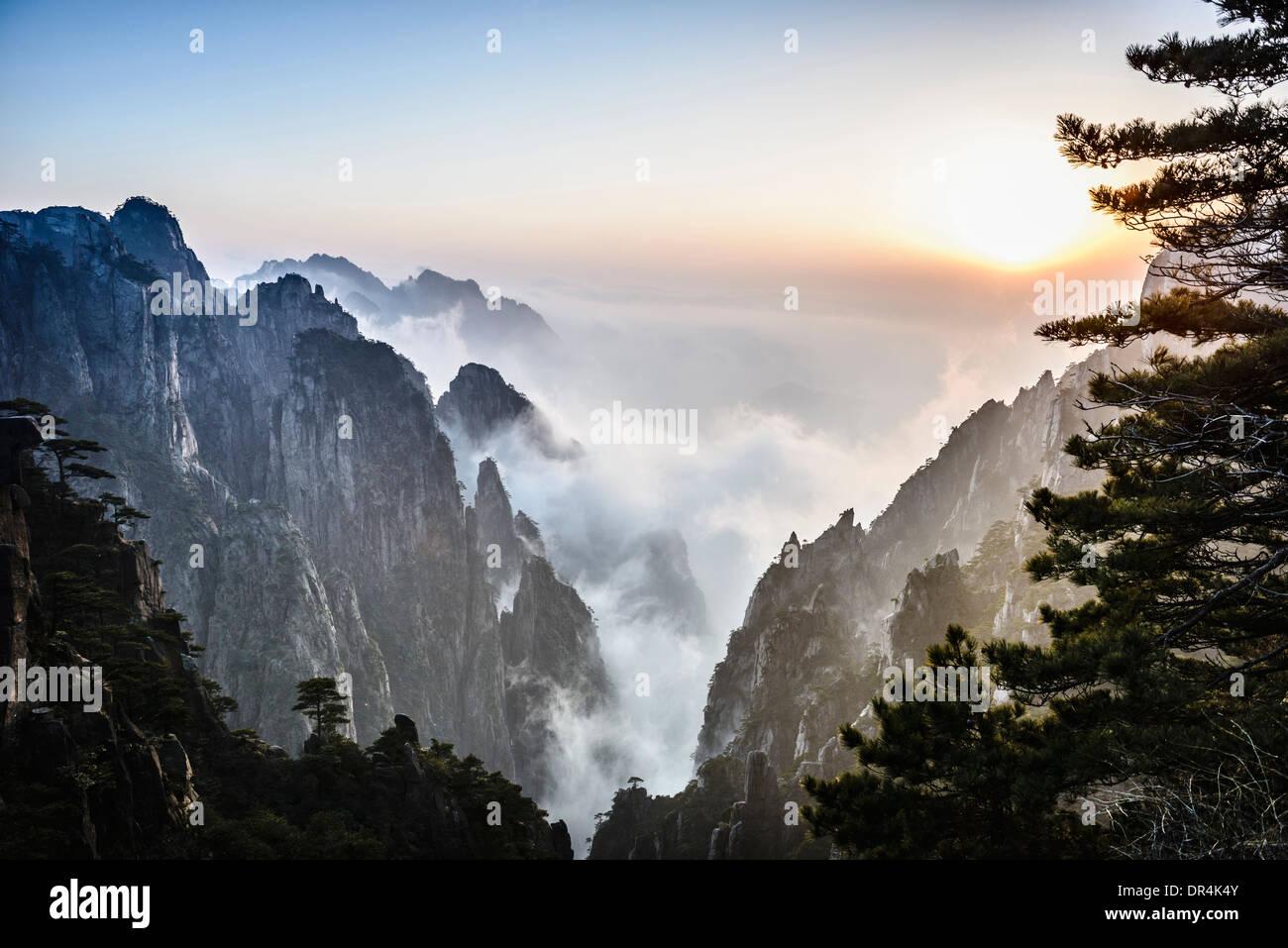 Le brouillard roulant sur les montagnes rocheuses, Huangshan, Anhui, Chine Photo Stock
