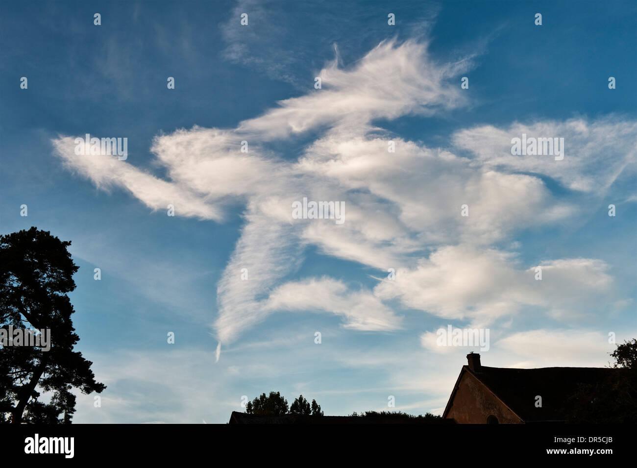 La formation de nuages inhabituels - un ange? Photo Stock