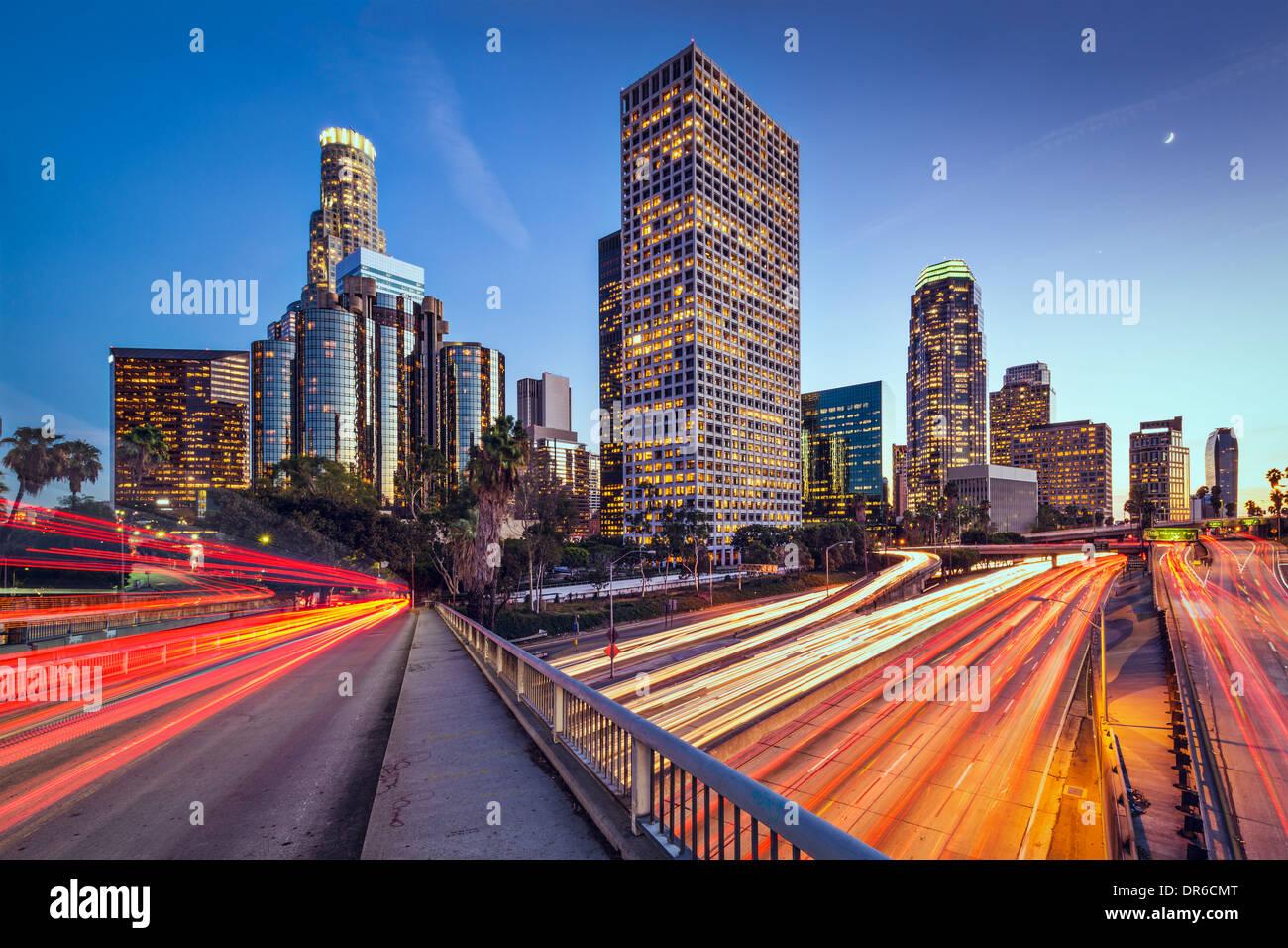 Los Angeles, Californie, USA sur le centre-ville au crépuscule. Photo Stock
