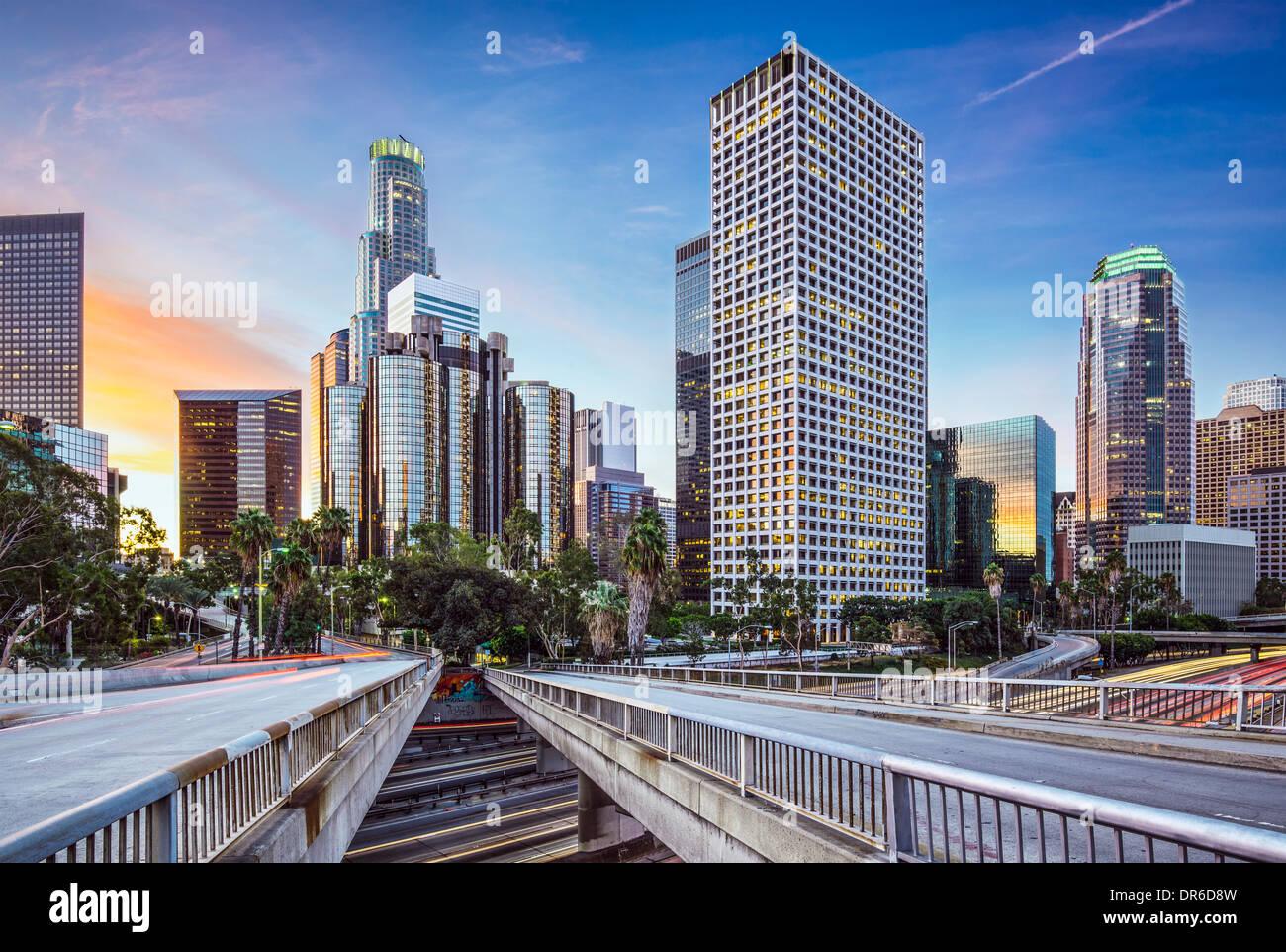 Los Angeles, Californie, USA tôt le matin, le centre-ville de la ville. Photo Stock
