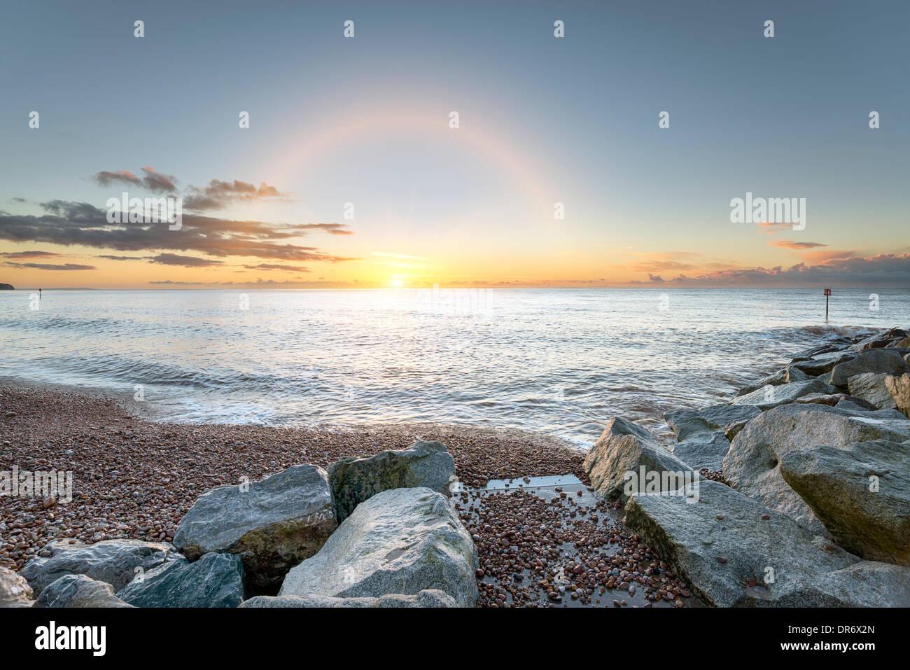 La plage et le rivage à Sidmouth sur la côte sud du Devon Photo Stock