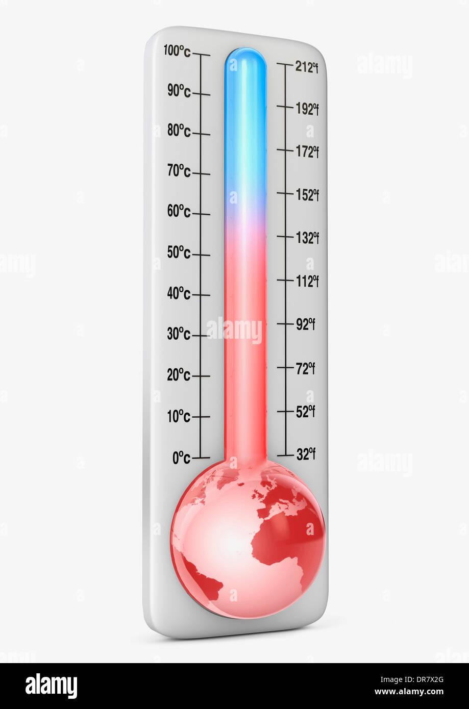 Thermomètre illustrant le changement climatique / réchauffement de la Photo Stock