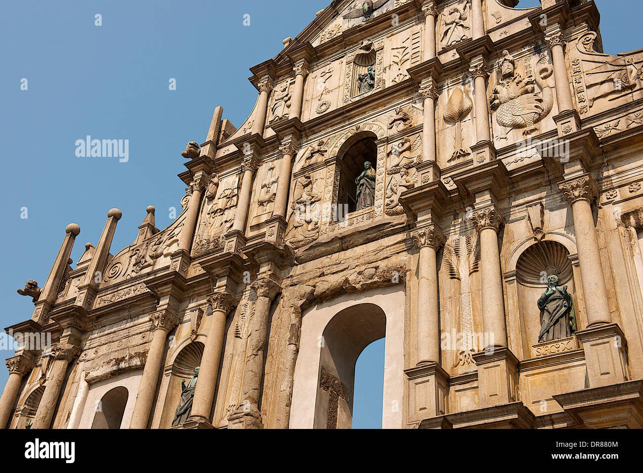 Ruines de la Cathédrale St Paul, Macao, Chine Photo Stock