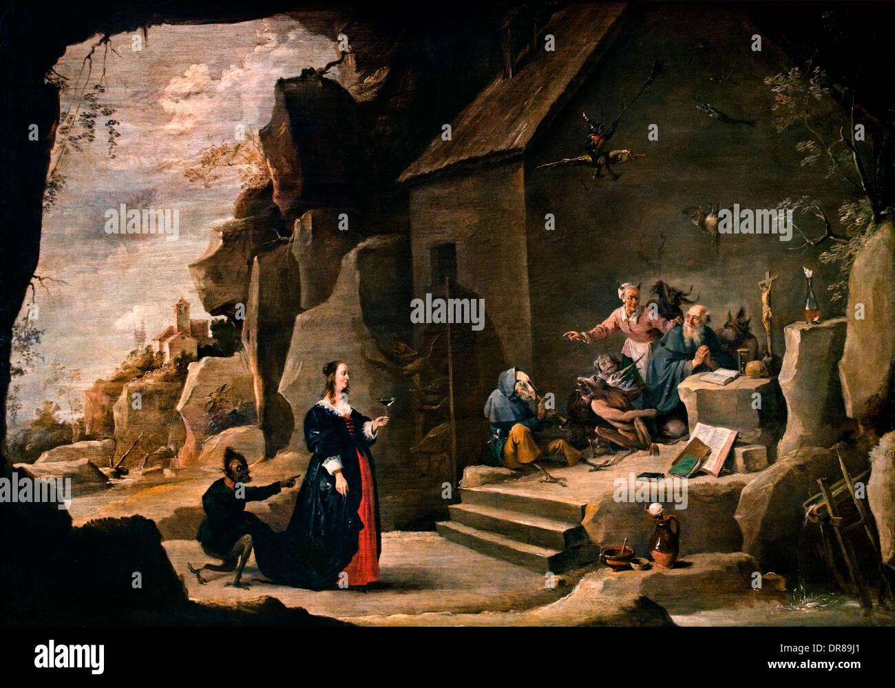 La Tentation de Saint Antoine par David Teniers le Jeune belge 1610-1690 Belgique Photo Stock