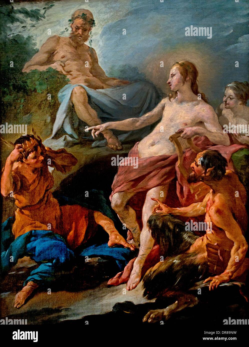 Apollon et Midas grec ( ) par Noel Halle 1711-1781 Français France Photo Stock