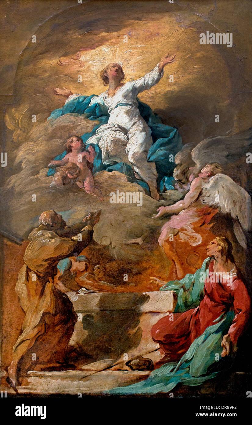 L'Assomption de la Vierge par Noel Halle 1711-1781 Français France Photo Stock