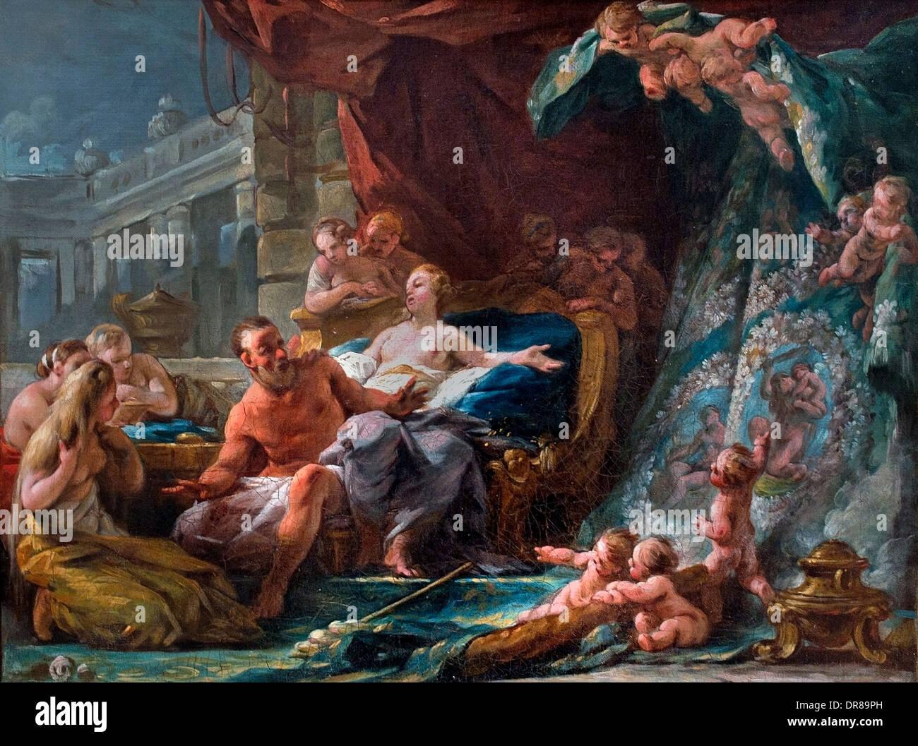 Histoire d'Hercule et Omphale ( Grèce ) grec par Noel Halle 1711-1781 Français France Photo Stock
